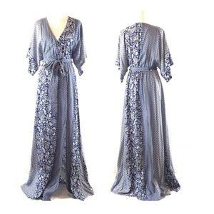 Aakaa Blue & White Kimono Sleeve Boho Maxi Dress